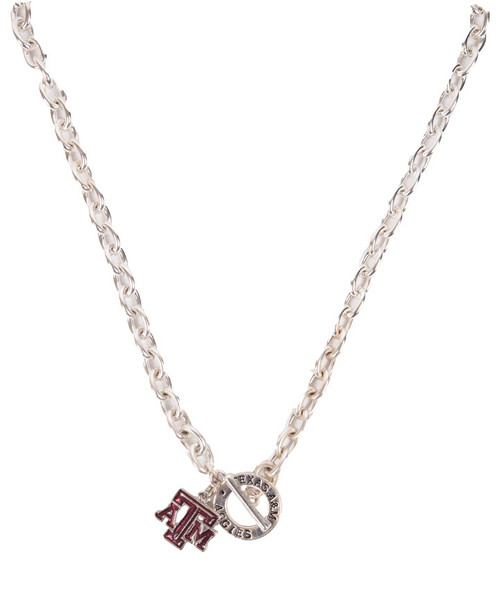 Texas A&M Aggies Silver Toggle Necklace