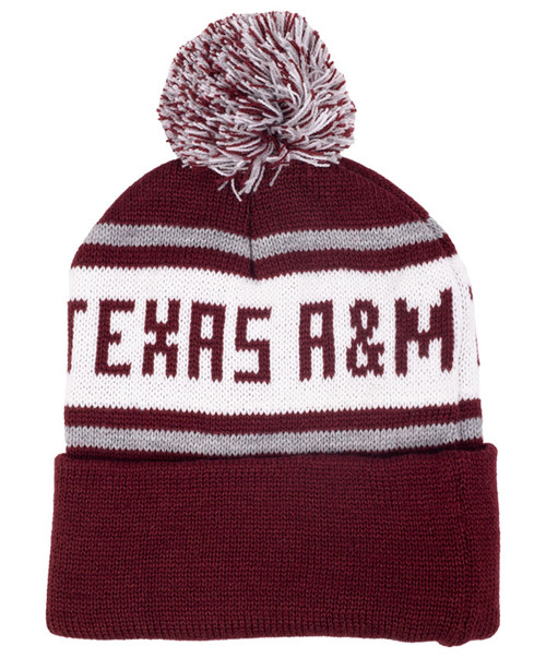 Texas A&M Aggies Youth Knit In Cuff Hat With Pom - Maroon & White