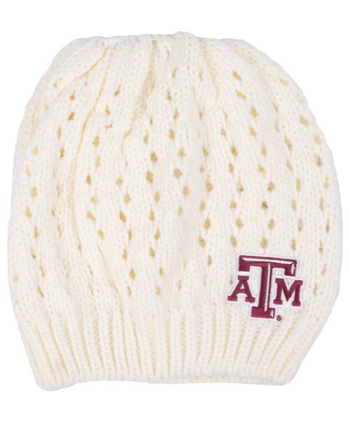Texas A&M Aggies Knit Bun Cream Beanie