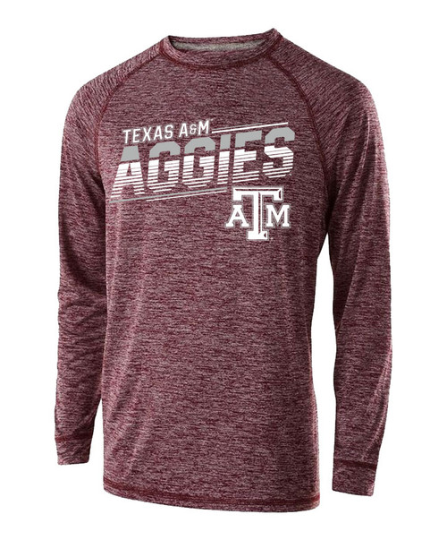 Texas A&M Aggies Electrify Active Long Sleeve Tee   Heather Maroon