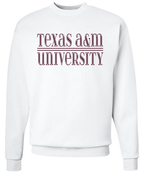 Texas A&M University Bar Bevel Crewneck White Sweatshirt