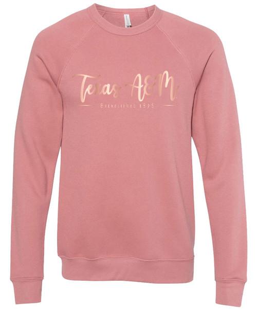 Texas A&M Aggies Est.1876 Bella+Canvas Rose Gold Foil Sweatshirt | Mauve