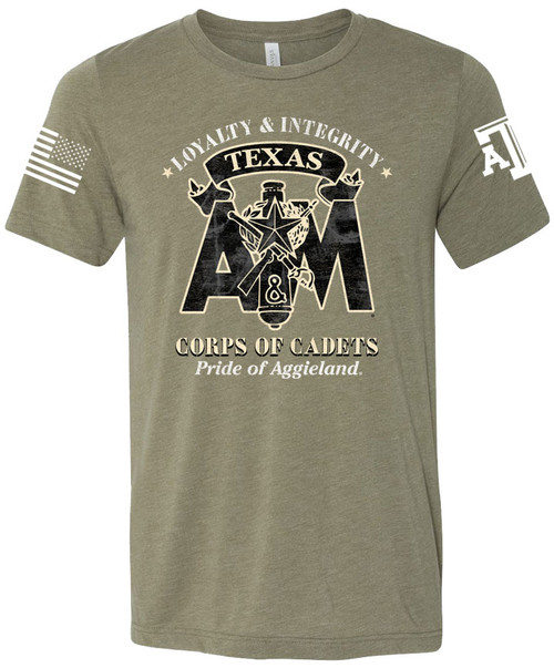 Texas A&M Aggies Corps Of Cadets Loyalty & Integrity Bella+Canvas Tee | Olive