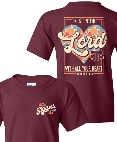 Texas A&M Aggies Youth Trust In The Lord 70s Hearts Short Sleeve T-Shirt| Maroon