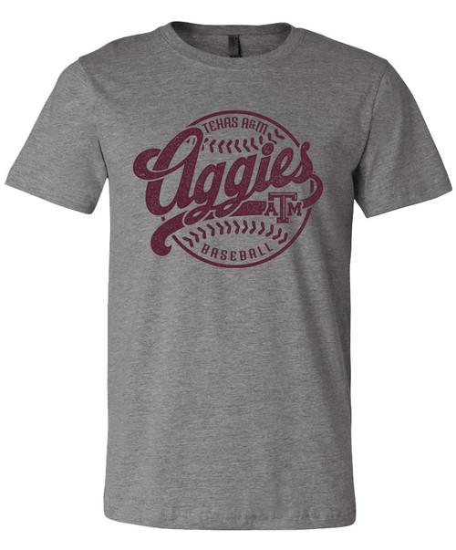 Texas A&M Aggie Baseball Distressed Text Bella+Canvas Short Sleeve   Grey