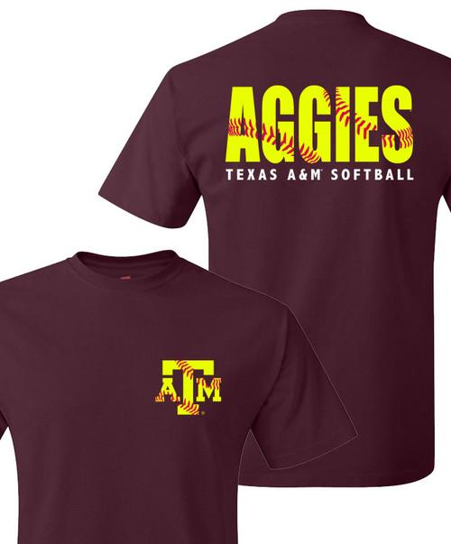 Texas A&M Aggies Softball Stitches Short Sleeve T-Shirt   Maroon