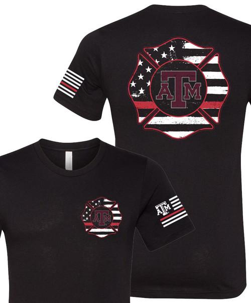 Texas A&M Aggies Firefighter Maltese Logo Bella+Canvas Short Sleeve Tee | Black