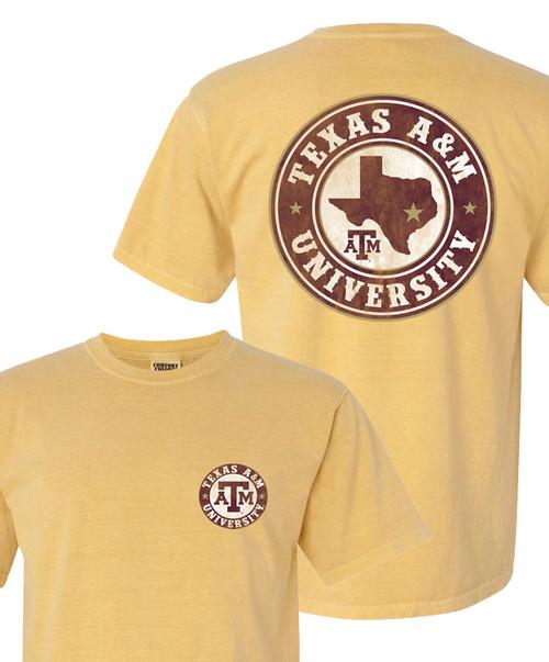 Texas A&M University Circle Comfort Colors Short Sleeve Mustard T-Shirt