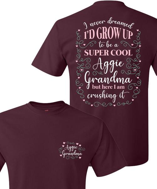 Texas A&M Aggie Grandma Crushing It Short Sleeve T-Shirt   Maroon