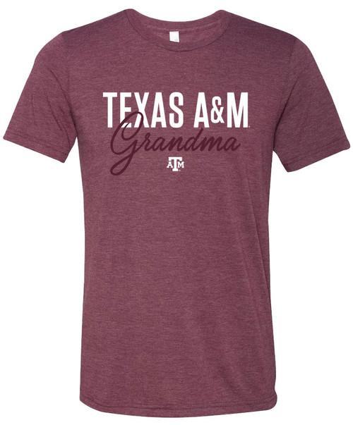 Texas A&M Grandma Standard Bella+Canvas Short Sleeve Tee | Maroon Triblend