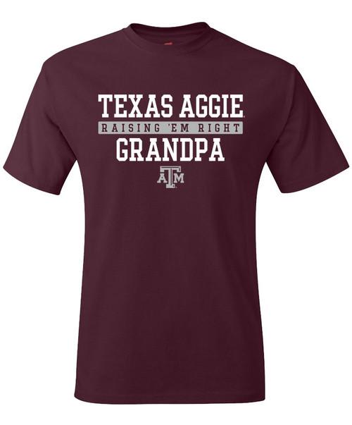 Texas A&M Aggie Grandpa Raisin EM Right Short Sleeve T-Shirt | Maroon