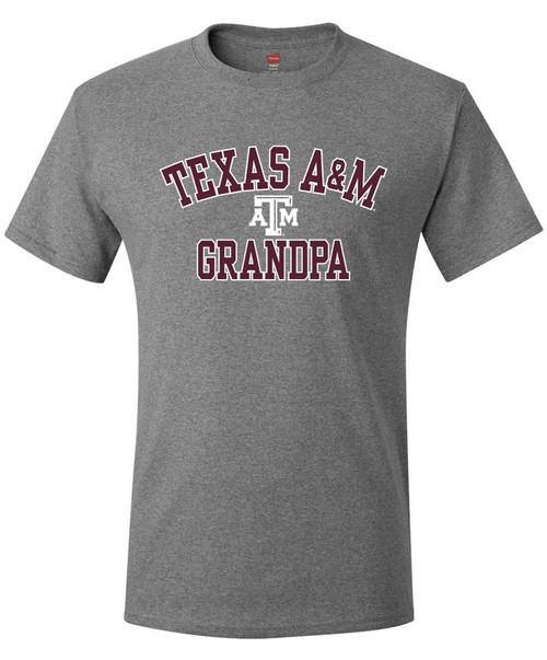Texas A&M Arched Grandpa Short Sleeve T-Shirt   Oxford Grey