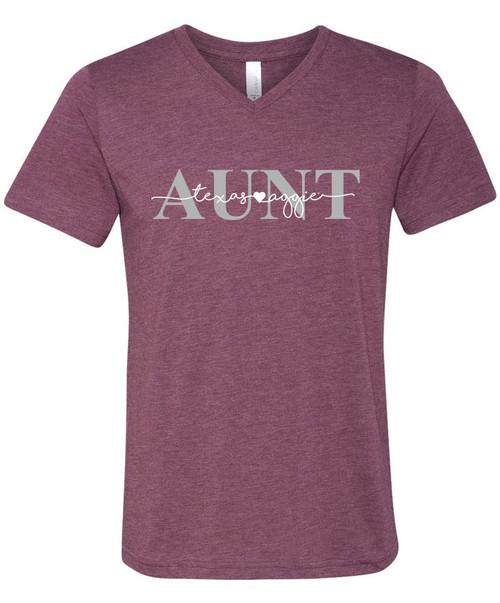 Texas A&M Aggie Aunt Bella+Canvas Short Sleeve V-Neck T-Shirt   Maroon