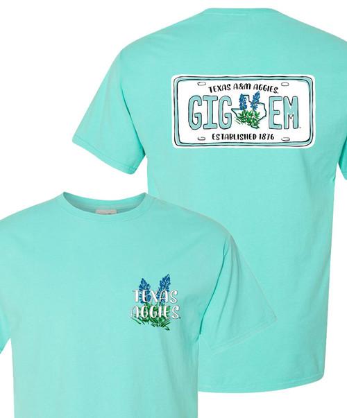 Texas A&M Aggies Ladies Gig EM License Plate Short Sleeve T-Shirt   Mint