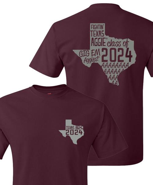 Texas A&M Aggies Class Of 2024 Lonestar Short Sleeve T-Shirt   Maroon