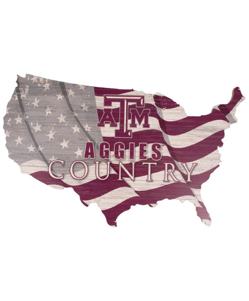 Texas A&M Aggies USA Shape Flag Cutout