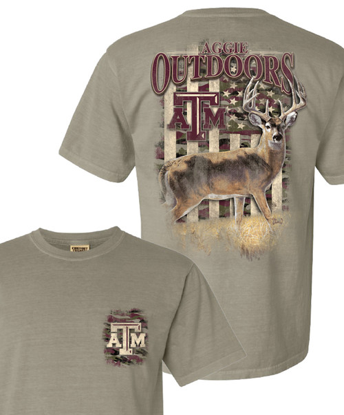 Texas A&M Aggie Outdoors Camo Flag With Deer Comfort Colors T-Shirt | Sandstone