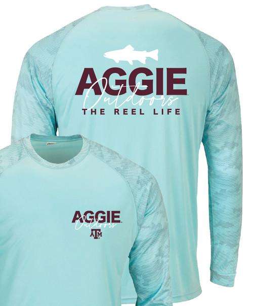 Texas A&M Aggie Outdoors Reel Life Long Sleeve Active T-Shirt   Aqua Blue