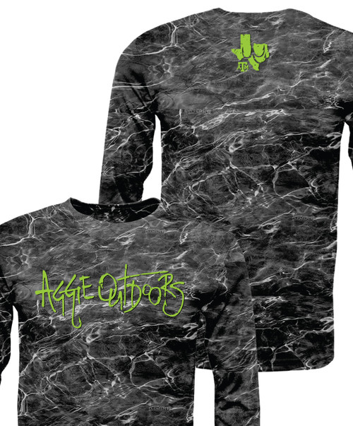 Texas A&M Aggie Outdoors Active Long Sleeve T-Shirt | Black Marble