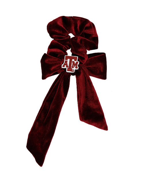 Texas A&M Aggie Velvet Scrunchie with Tails | Maroon