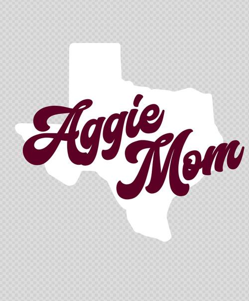 Texas A&M 5 x 4.25 Aggie Mom Lonestar Decal | Maroon & White