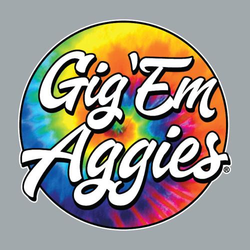 Texas A&M Aggies 4.5 x 4.5 Tie Dye Circle Gig 'Em Aggies Decal
