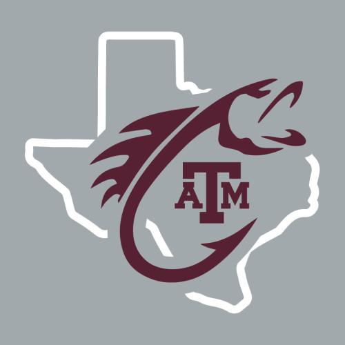 Texas A&M Aggies 5 x 4.75 Fish Hook Lonestar Decal   Maroon & White