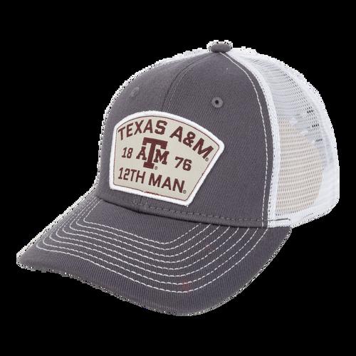 Texas A&M Aggies 1876 12th Man Silver Patch Cap - Dark Grey