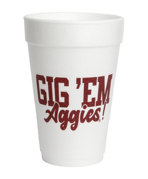 Texas A&M Aggies Gig 'Em 10 count Sleeve Styrofoam Cups