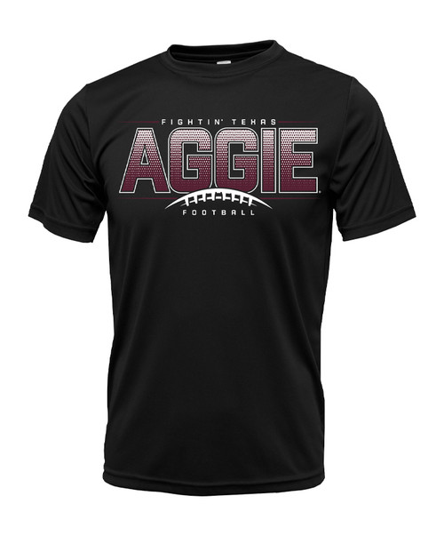 Texas A&M Aggie Football Short Sleeve Active Shirt   Black