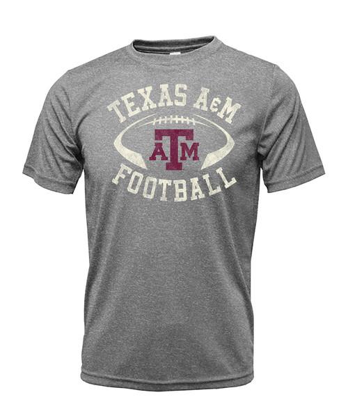 Texas A&M Aggies Youth Distress Football Helmet Short Sleeve Shirt |Heather Grey
