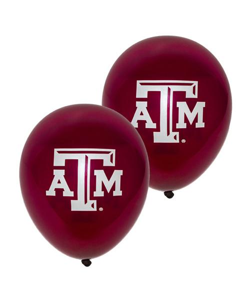"Texas A&M 9"" Crystal Latex Burgundy Balloons"
