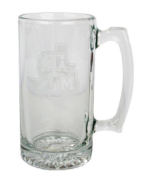 Texas A&M Aggies 25oz Lonestar Deep Etched Glass Beer Mug
