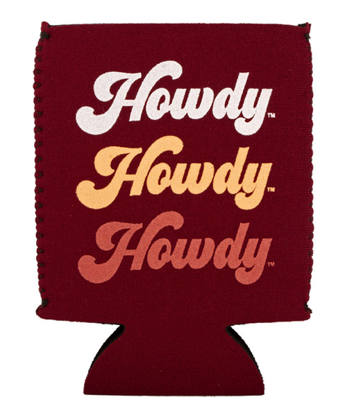 Texas A&M Aggies Retro Howdy Howdy Howdy Koozie   Maroon
