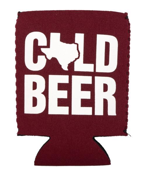 Maroon &  White Cold Beer Koozie
