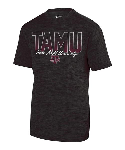 Texas A&M Aggies TAMU Wordmark Shadow Tonal Active Short Sleeve Tee   Black