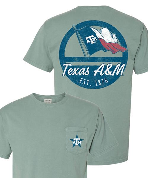 Texas A&M Aggies Texas Flag Short Sleeve Pocket Cypress Green T-Shirt