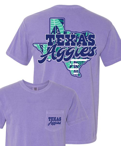 Texas A&M Aggies Ladies Comfort Colors Short Sleeve Pocket T-Shirt | Violet