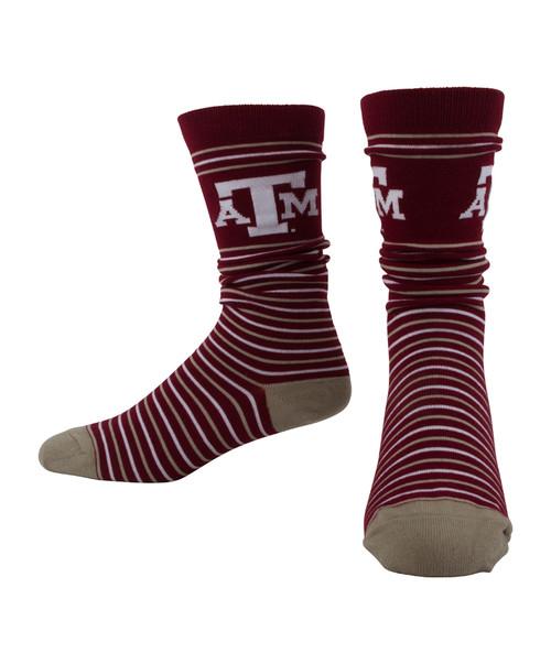 Texas A&M Aggies Dress Stripe Mid Calf Socks