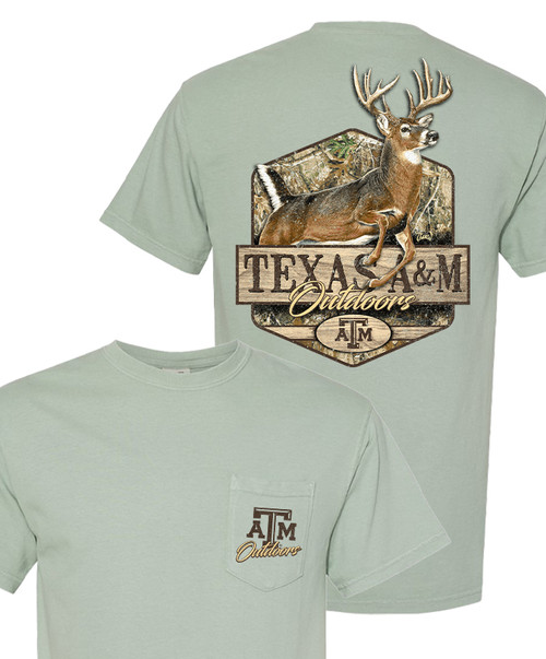 Texas A&M Outdoors Vintage Large Deer Comfort Colors Pocket T-Shirt   Bay