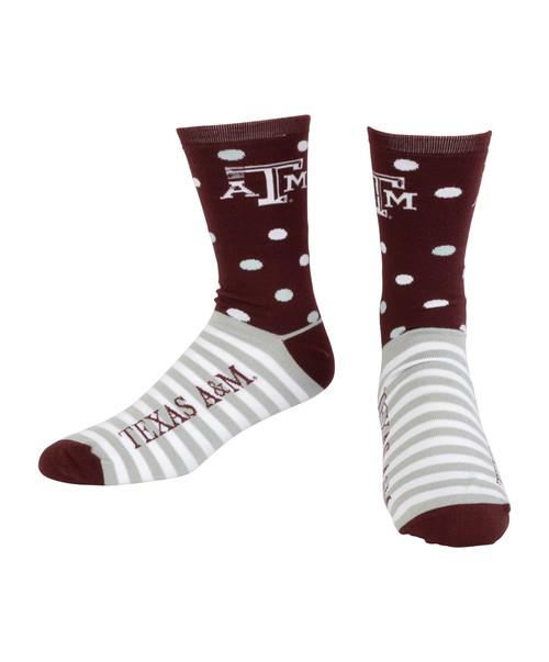 Texas A&M Aggies Half Dots Half Stripes Socks