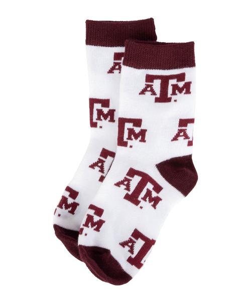 Texas A&M Aggies Toddler Logo Graphic Crew Socks - Maroon & White