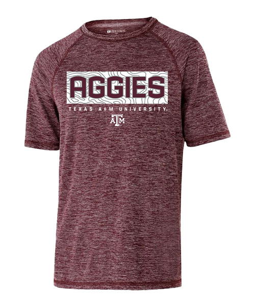 Texas A&M Aggies Youth Electrify Short Sleeve Active Shirt | Heather Maroon