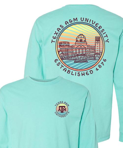 Texas A&M Aggies Lines & Skylines Long Sleeve T-Shirt | Mint