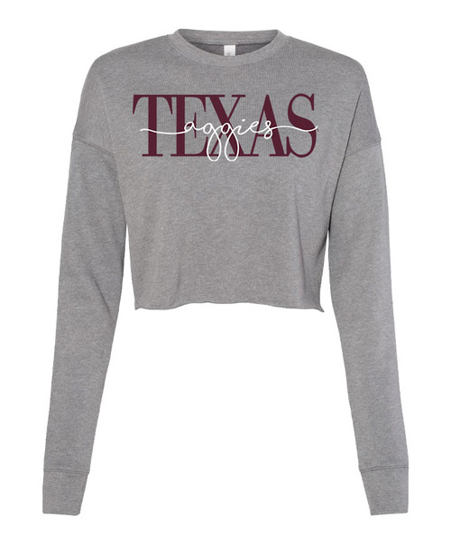 Texas A&M Aggies Script Cropped Crew | Deep Heather