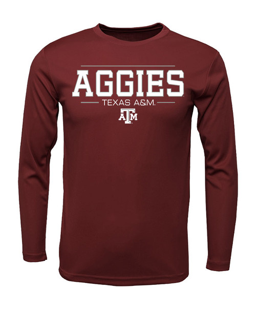 Texas A&M Aggies Wordmark Long Sleeve Active Tee | Maroon