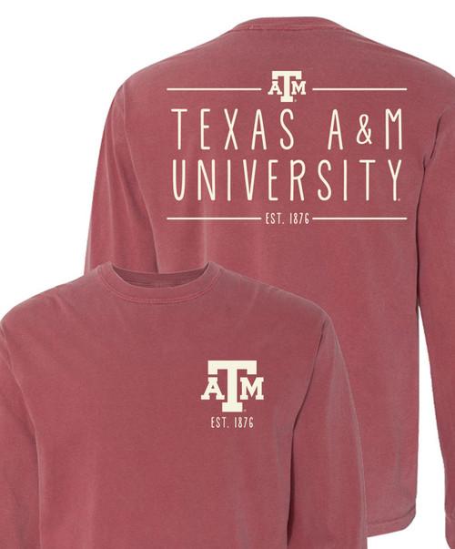 Texas A&M University Comfort Colors Long Sleeve T-Shirt | Brick
