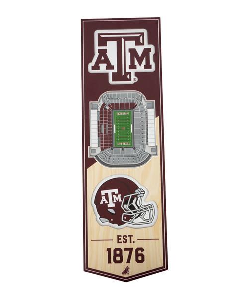 Texas A&M Aggies 6 x 19 3D Kyle Field Stadium Banner