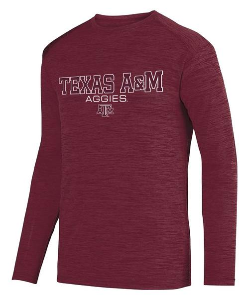 Texas A&M Aggies Active Shadow Tonal Long Sleeve Tee   Heather Maroon