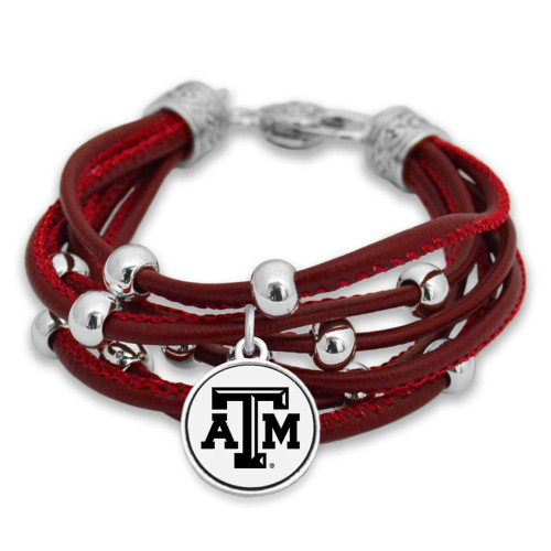 Texas A&M Aggies Lindy Maroon Leather Bracelet
